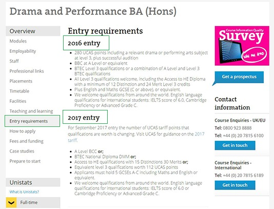 Screenshot of course on LSBU website showing entry requirements