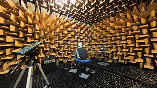 The Anechoic Chamber can achieve almost perfect quiet conditions