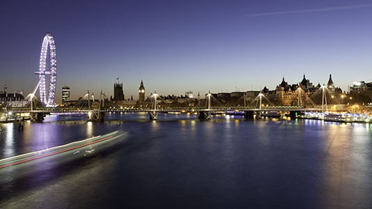 The London skyline at night