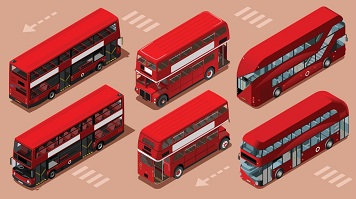 six routemaster buses, illustration