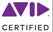 purple shapes spelling AVID