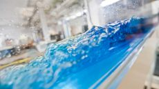 blue liquid in glass container