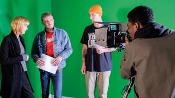 Students using Arri cameras in Elephant Studios