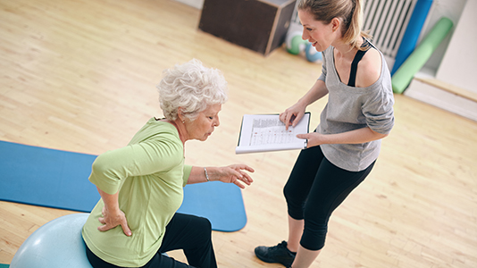 Physiotherapy treatment in gym