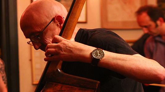 Gus Garside playing double bass