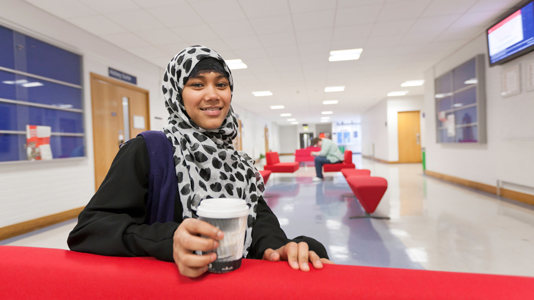 Student in london road lobby