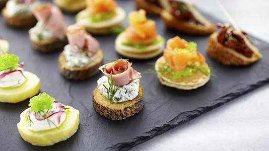A tray of hors d'oeuvres