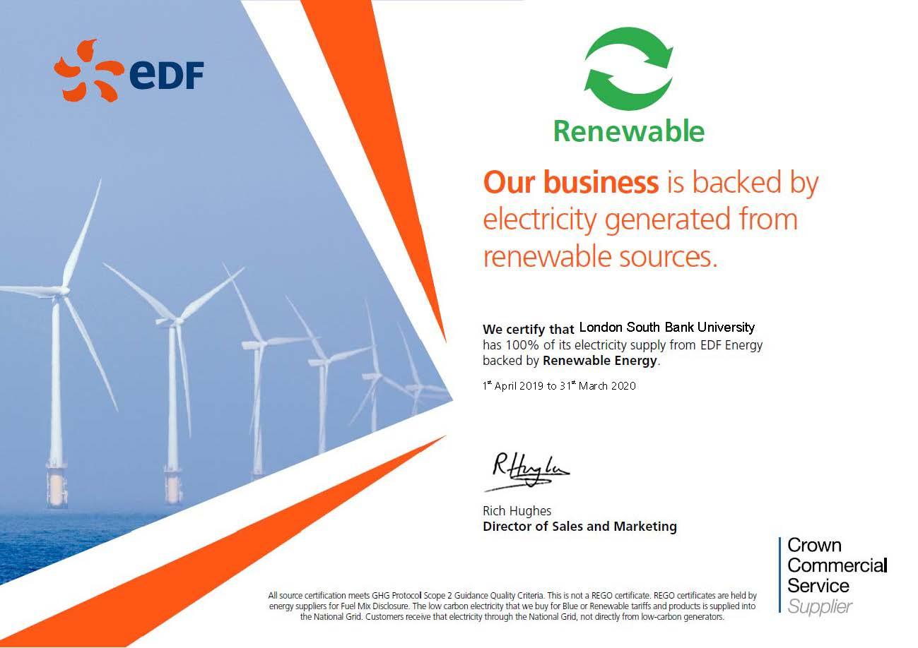 EDF certificate