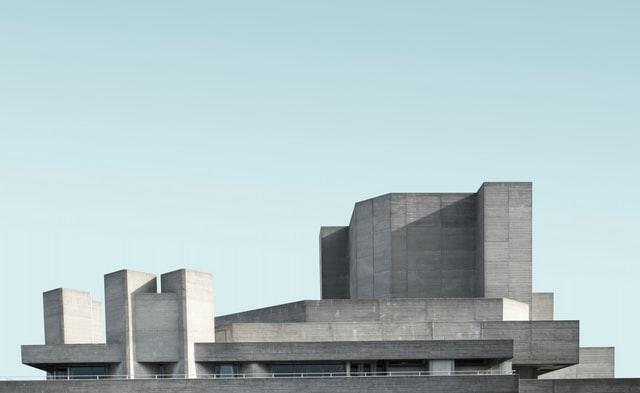 grey brutalist concrete rooftop