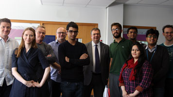 Informatics students and industry representatives photographed at end of student assessment