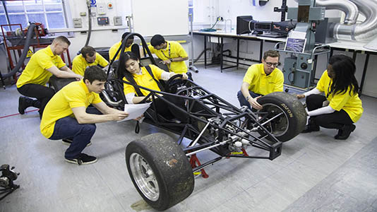 Students working in the Engine and Petrol Lab